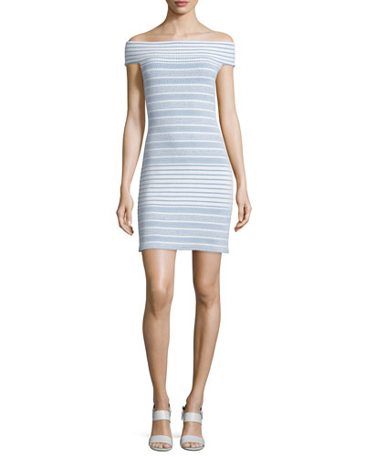 Off-the-Shoulder Striped Knit Dress, Indigo/Multi