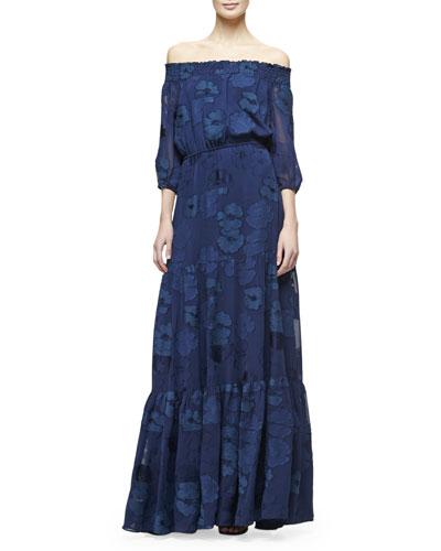 Off-the-Shoulder Jacquard Tiered Maxi Dress, Navy