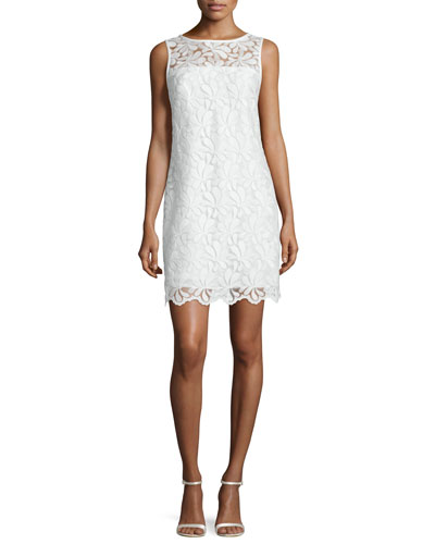 Sleeveless Lace Sheath Dress, Whitewash