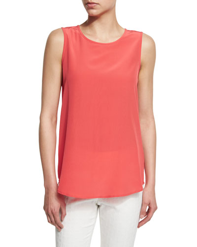 Sleeveless Silk Shell, Coral