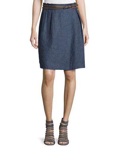 Linen Skirt W/ Belt