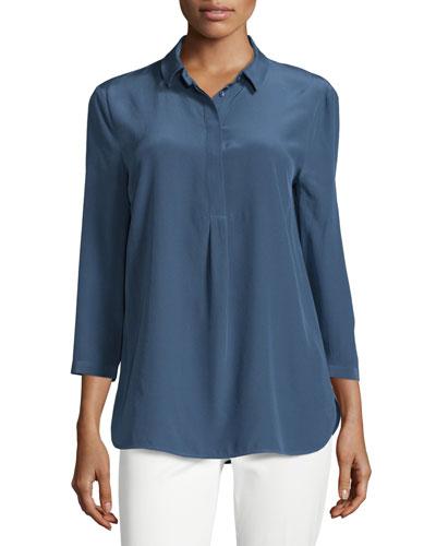 3/4-Sleeve Silk Tunic Top
