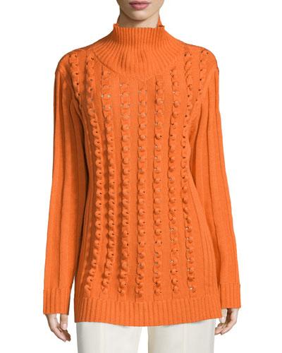 Long-Sleeve Chain-Stitch Sweater, Burnt Orange