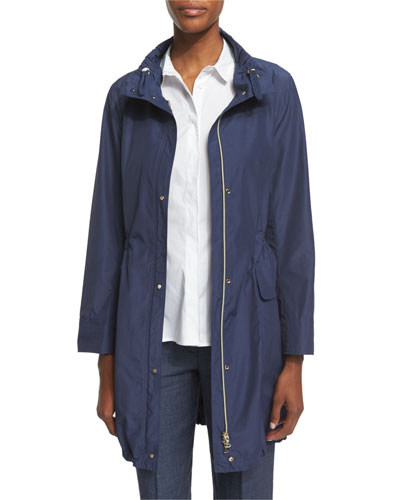 Polished Midi Drawstring Raincoat