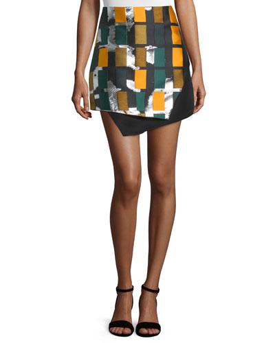 Printed-Front Angled Mini Skirt, Black/Multi