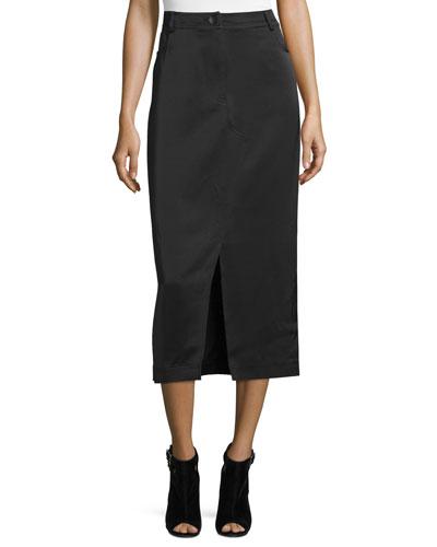 High-Waist Slim Midi Skirt, Black