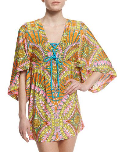 Capri Printed Lace-Up Tunic Coverup, Orange Sherbet