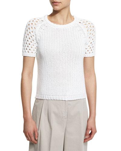 Short-Sleeve Cotton Crochet Sweater