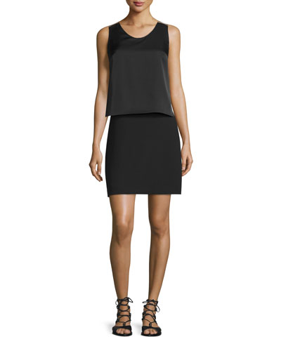 Sleeveless Popover-Bodice Sheath Dress, Black