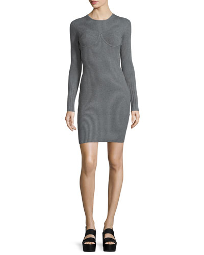 Long-Sleeve Corset-Style Dress, Gray
