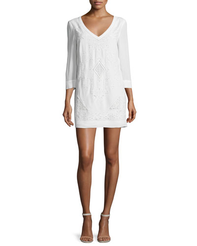 Camber Sands 3/4-Sleeve Shift Dress, Summer White