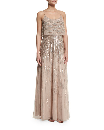 Sleeveless Embellished Popover Gown, Light Mink