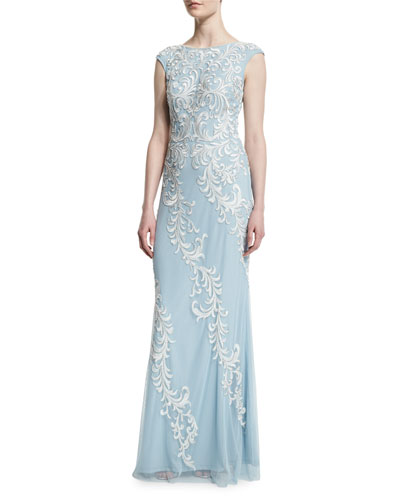 Cap-Sleeve Embroidered-Overlay Gown, Mist