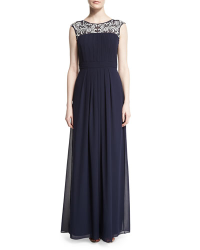 Cap-Sleeve Embroidered-Yoke Gown, Twilight
