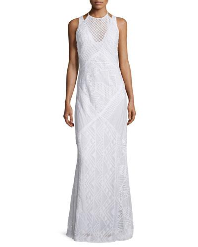 Rene Geometric-Lace Maxi Dress, Summer White