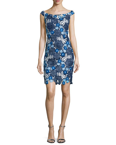 Off-The-Shoulder Lace Cocktail Dress, Blue/Multi