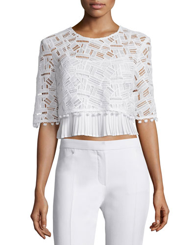 Freddy Half-Sleeve Lace Top, Summer White