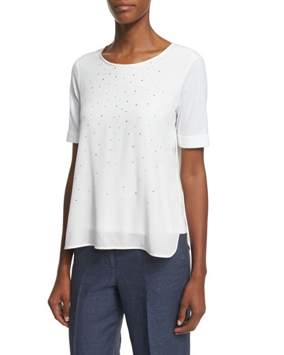Short-Sleeve Crystal-Front Silk Overlay Top