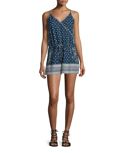 Castaway Drawstring-Waist Romper, Indian Ocean/Multi
