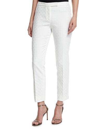 Circle Jacquard Slim Pants, White