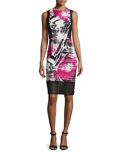 Sleeveless Floral-Print Sheath Dress W/ Mesh