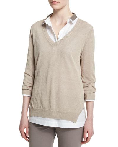 3/4-Sleeve Sweater W/ Silk Insert