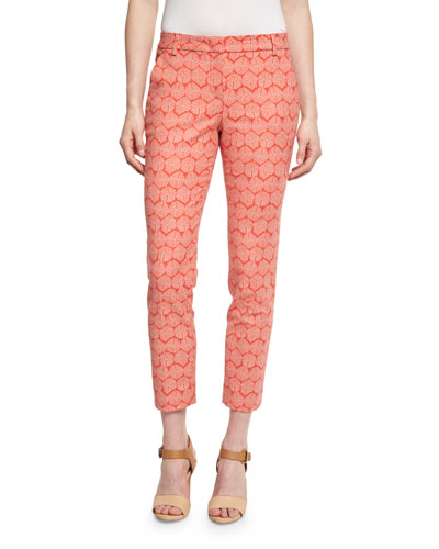 Geometric-Print Cropped Pants, Coral/Taupe