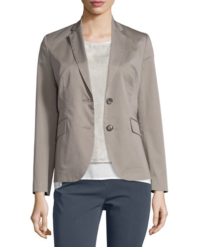 Two-Button Cotton Blazer, Taupe
