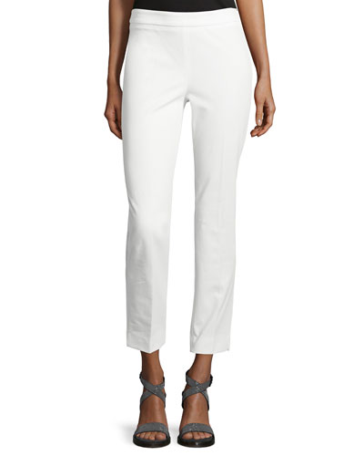 4-Way Stretch Cropped Pants, White
