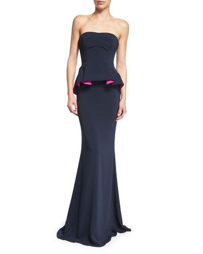Strapless Colorblock Peplum Gown