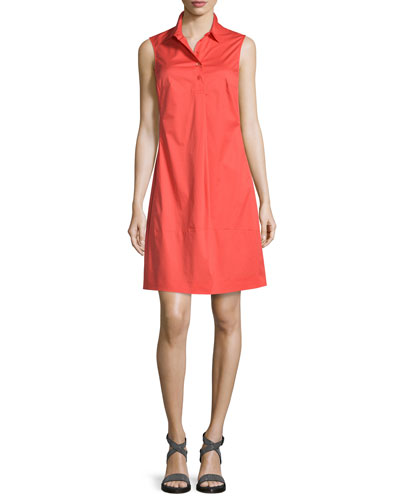 Sleeveless Stretch-Cotton Organza Shirtdress, Coral