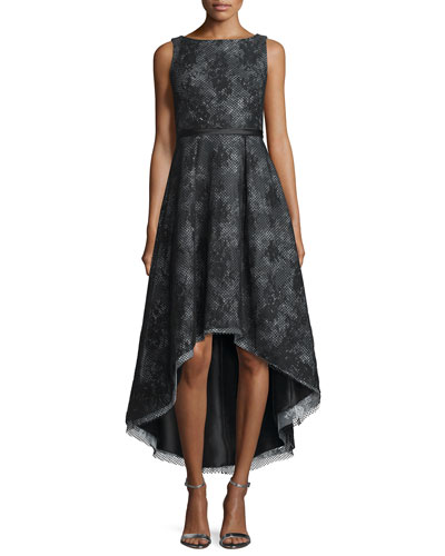 Sleeveless Jacquard High-Low Cocktail Dress
