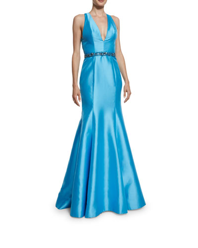 Sleeveless V-Neck Mikado Belted Trumpet Gown