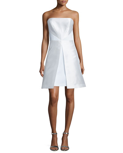 Strapless Fit-&-Flare Cocktail Dress, White
