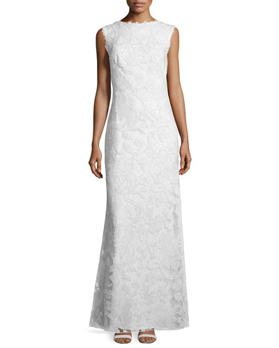 Sleeveless Lace Column Gown