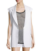 Crepe Oversized Open-Back Vest, Chalk