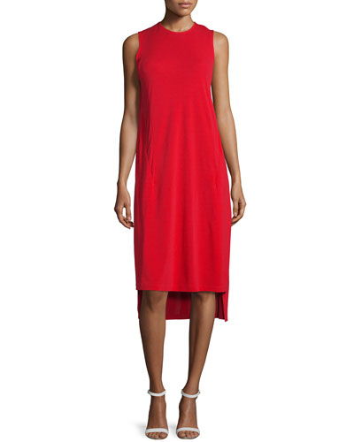 Cape-Sleeve Jersey Midi Dress, Vermillion