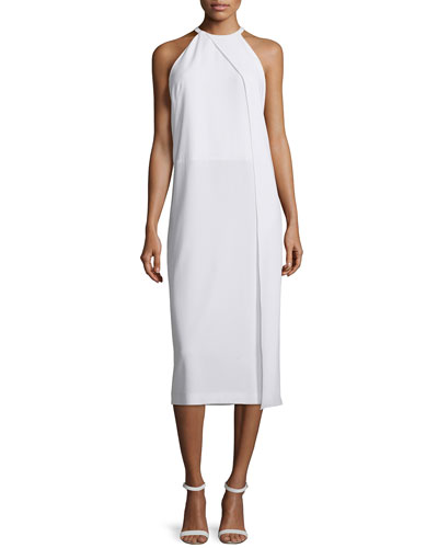 Sleeveless Draped Crepe Midi Dress, White