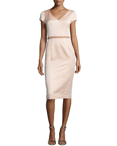 Cap-Sleeve V-Neck Midi Cocktail Dress, Peach