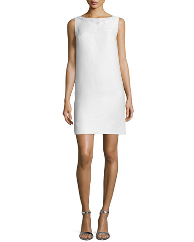 Sleeveless Embellished Shift Dress, Ivory