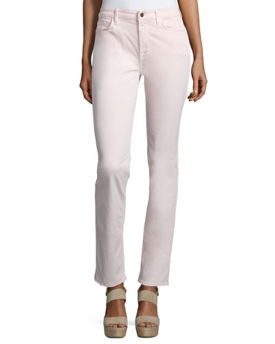 Sateen Skinny Cropped Jeans, Pink