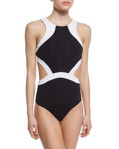Classique Contrast Cutout High-Neck One-Piece Swimsuit
