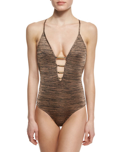 Melange Plunge-Neck One-Piece Swimsuit