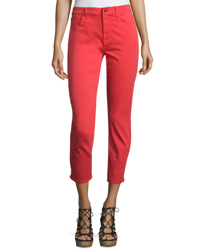 Mid-Rise Sateen Skinny Cropped Jeans, Coral