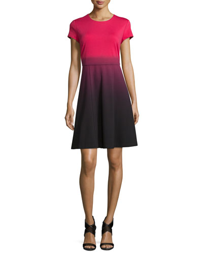 Cap-Sleeve Fit-&-Flare Ombre Dress, Pink Tea/Black
