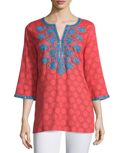 Olivia Dot-Print Embroidered Tunic, Coral/Blue