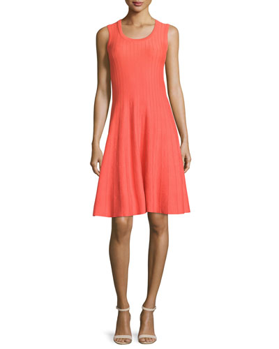Twirl Sleeveless Knit Dress, Hot Coral