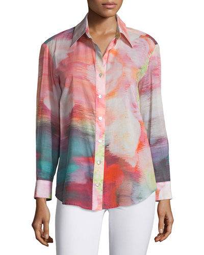 Button-Front Watercolor-Print Blouse, Multi Colors