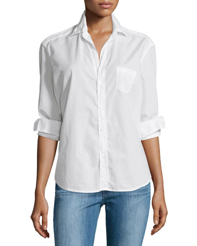 Eileen Button-Front Poplin Shirt, White