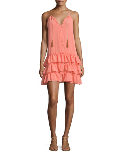 Delfine Sleeveless Ruffled-Skirt Dress, Rose